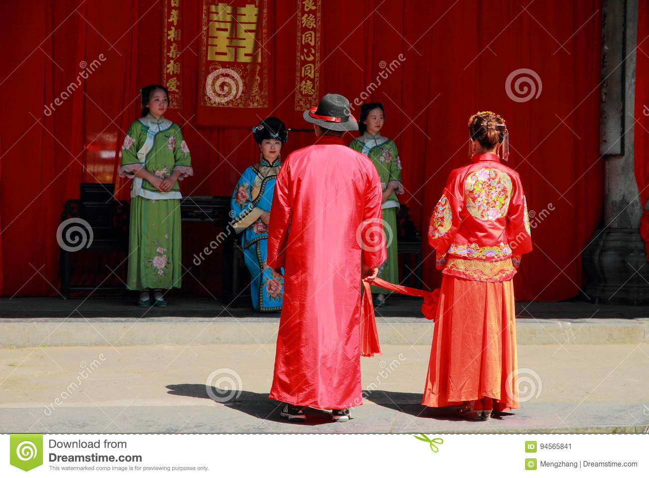 The ancient Chinese traditional wedding,bow to Heaven and Earth as part of a wedding ceremony