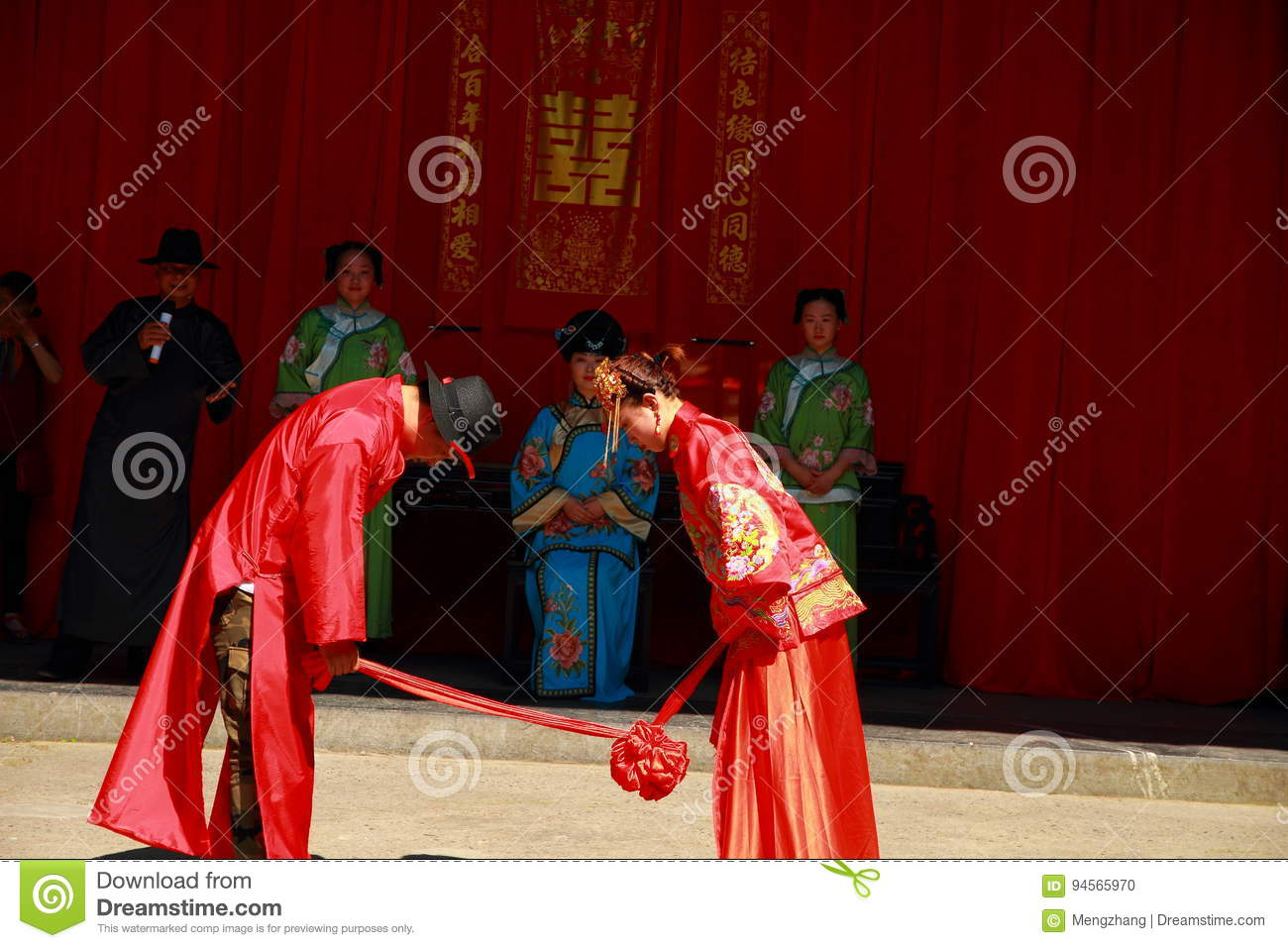 The Ancient Chinese Traditional Wedding,bow To Heaven And
