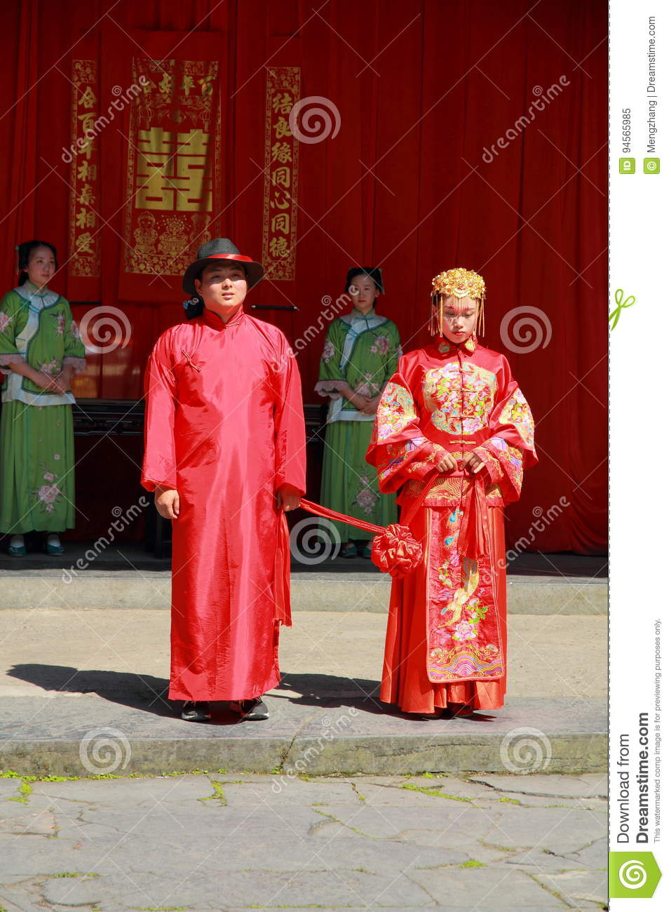 The ancient Chinese traditional wedding, bow to Heaven and Earth as part of a wedding ceremony
