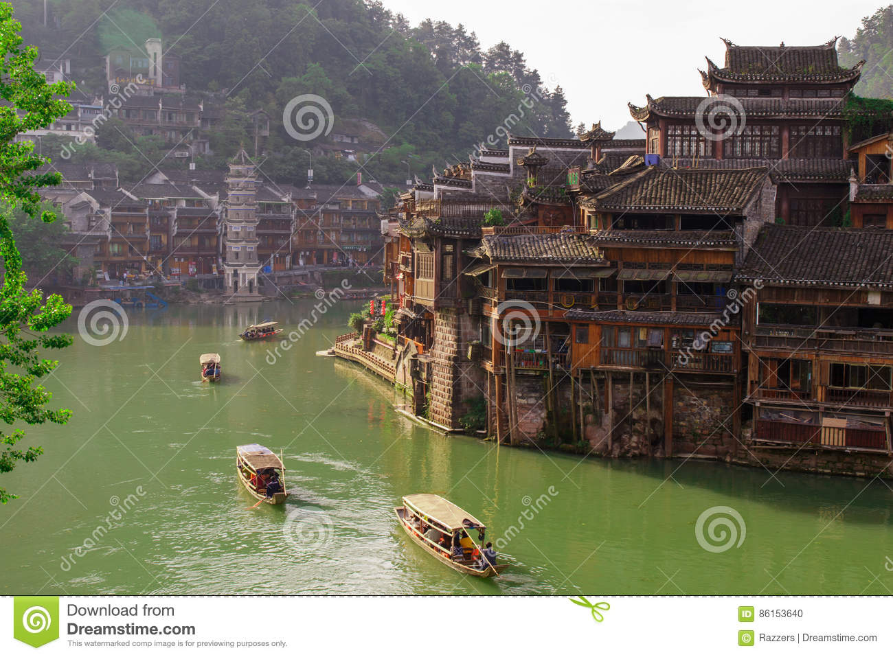 Ancient City Fenix In China. Historic Asian Scenery With ...