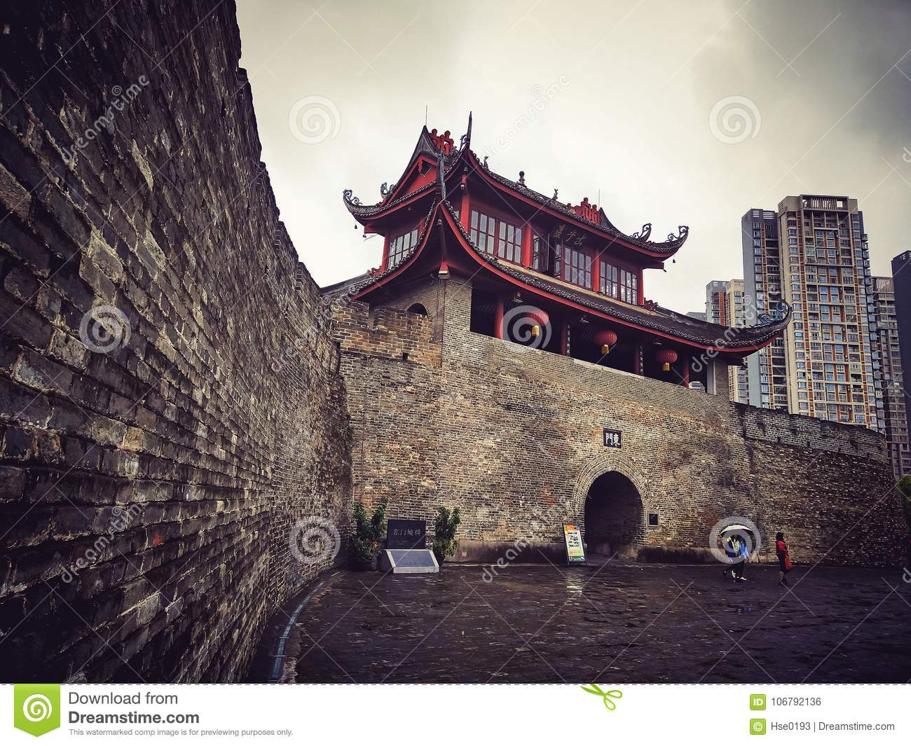 Ancient city gate tower