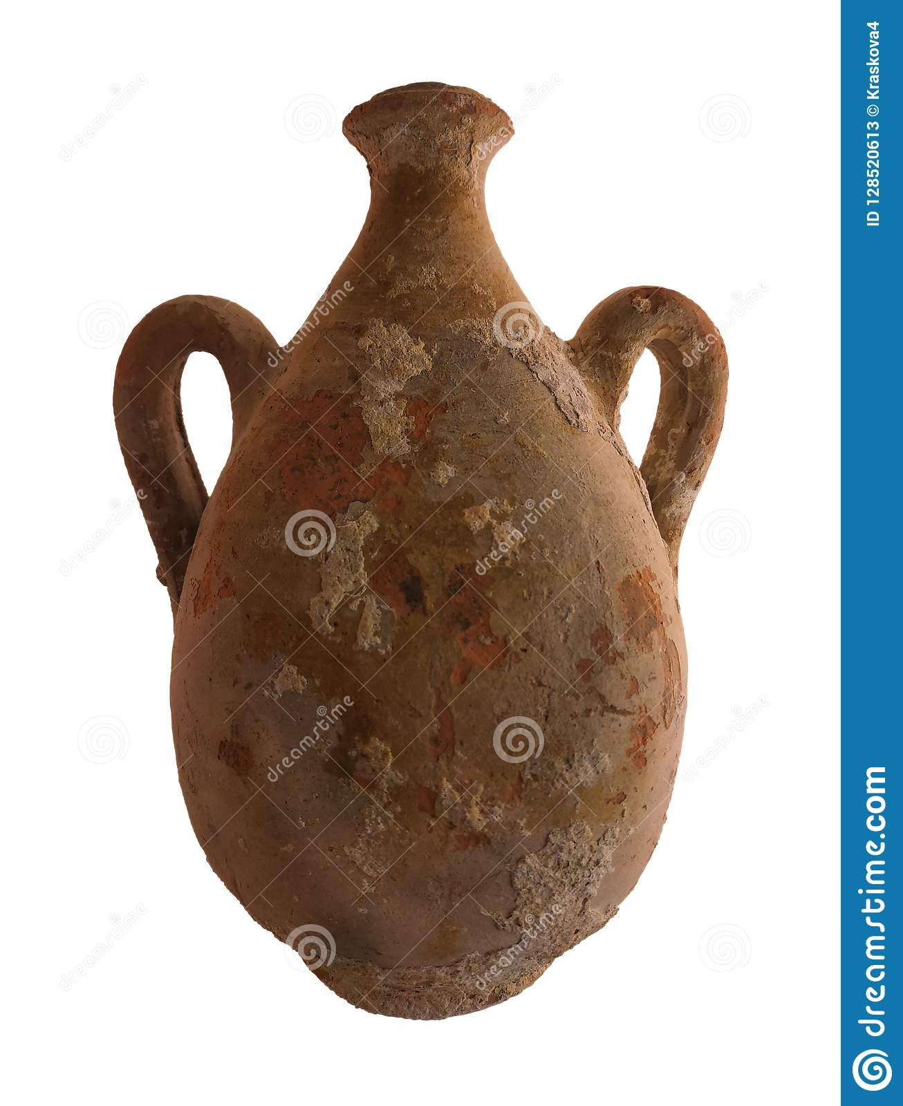 Ancient clay amphora isolated