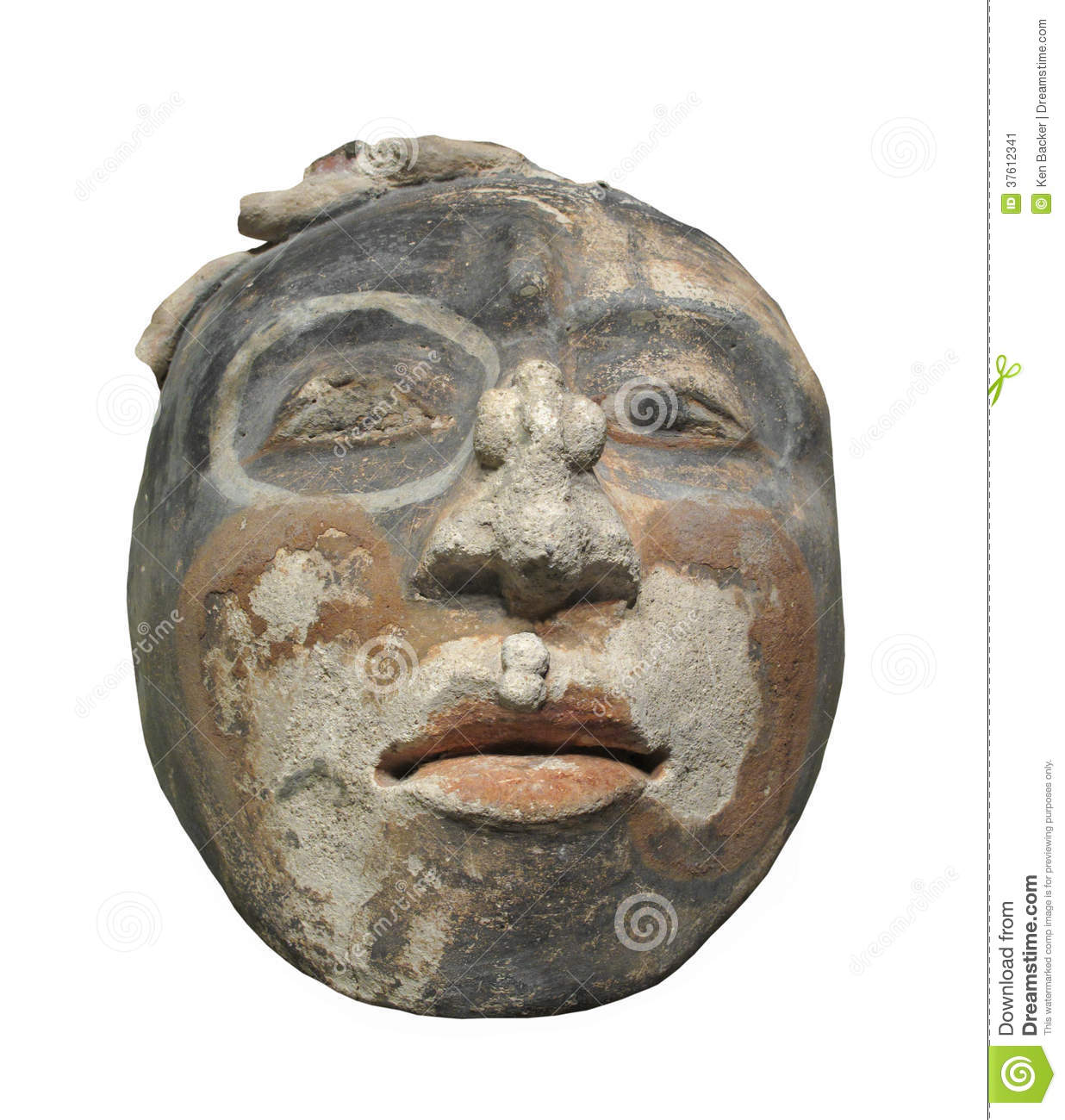 Ancient clay face sculpture isolated stock image