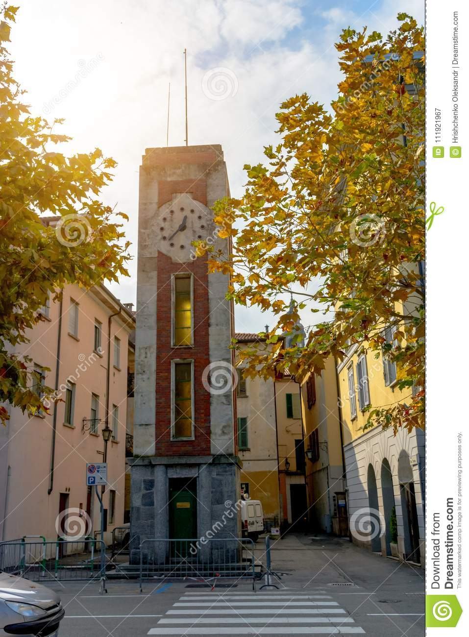 Ancient Clock Tower In Italy , Arona  Stock Image - Image of