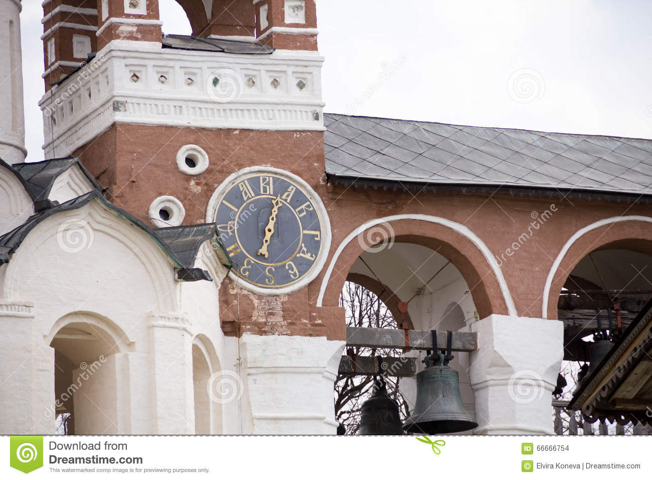 Download The Ancient Clock On The Wall Of The Church, City Suzdal, Golden Ring Of Russia Stock Photo - Image of face, church: 66666754