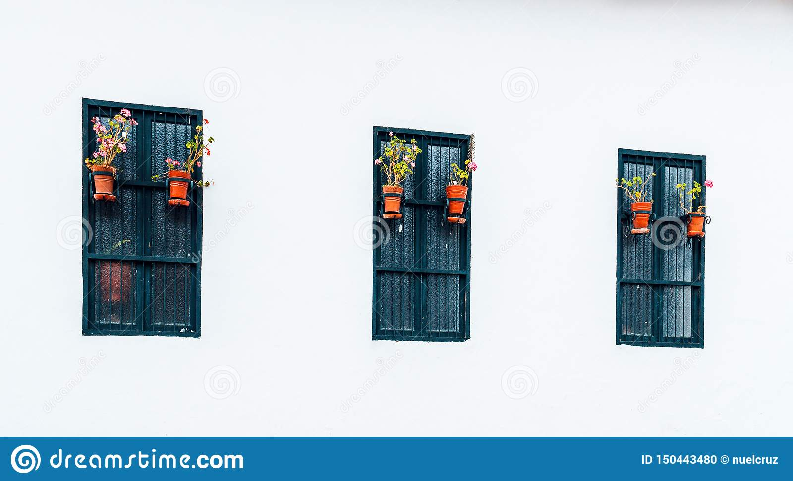 Ancient and colonial windows in Belén passage of the city of Cajamarca Peru