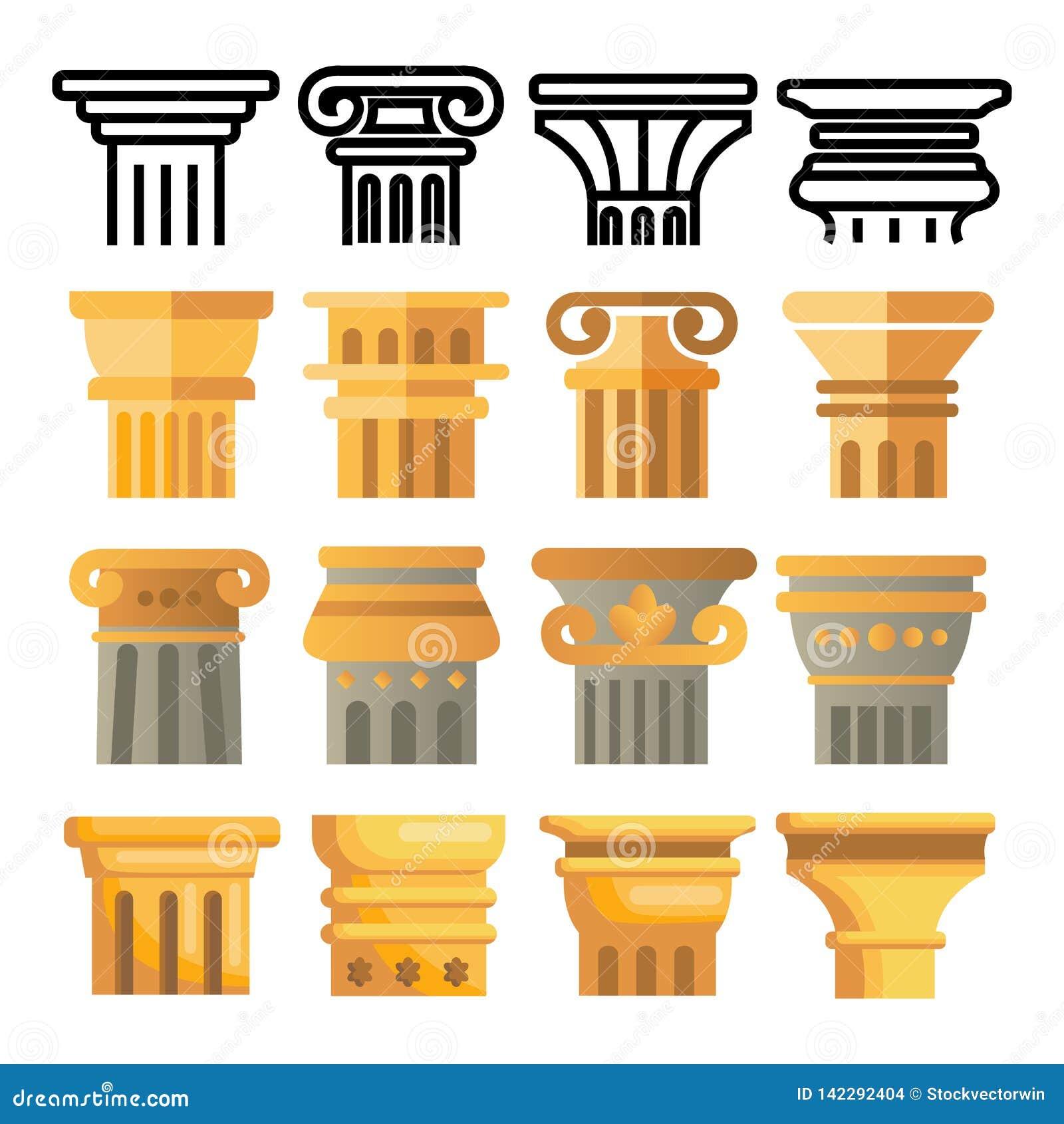 Ancient Column Icon Set Vector. Architecture Roman Symbol. Ancient Pillar. Greece Building. Rome Culture. Old Graphic