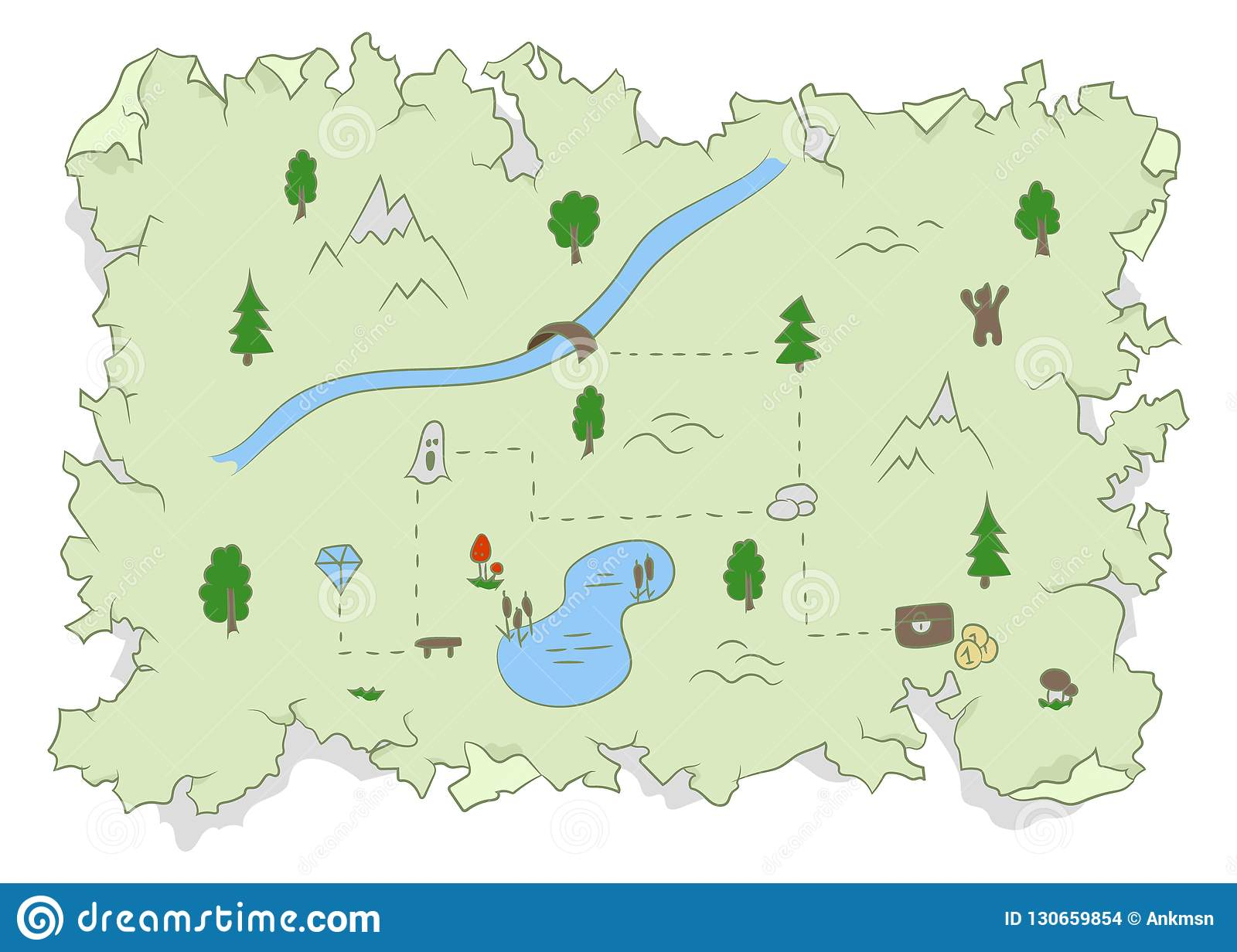 Ancient Damaged Treasure Map Hidden In The Forest Stock Vector