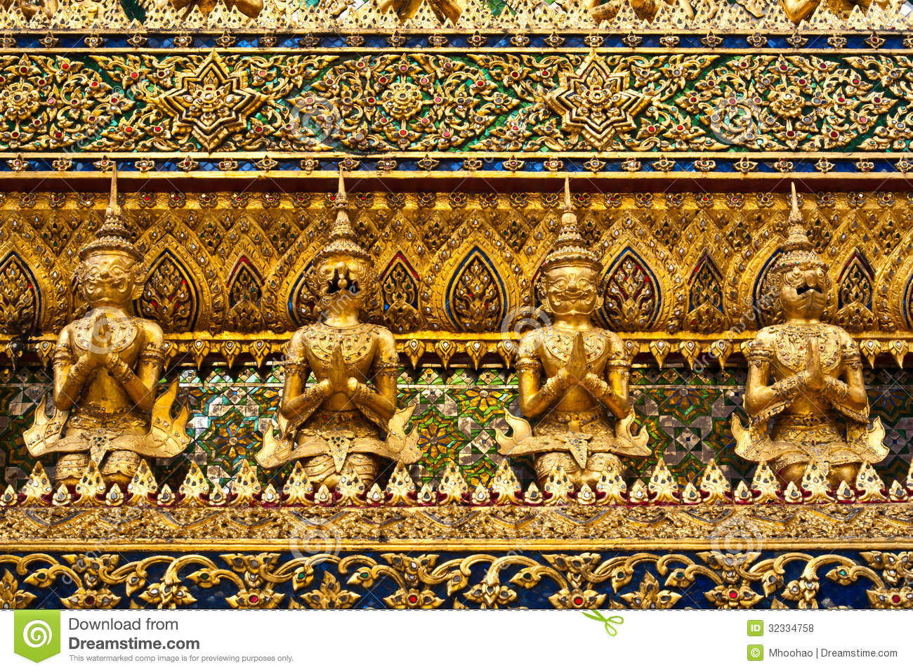 Ancient decoration in wat prakeaw royalty free stock for Ancient decoration