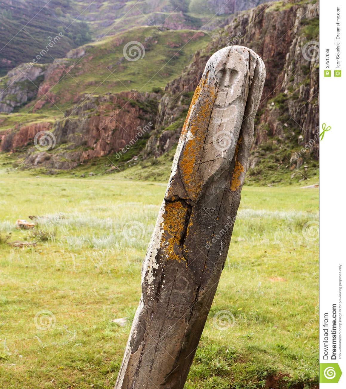 Altai ancient deer stone stock image of siberia