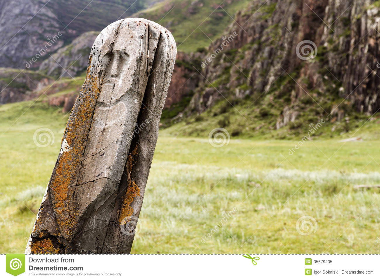 Ancient deer stone stock image of ritual culture