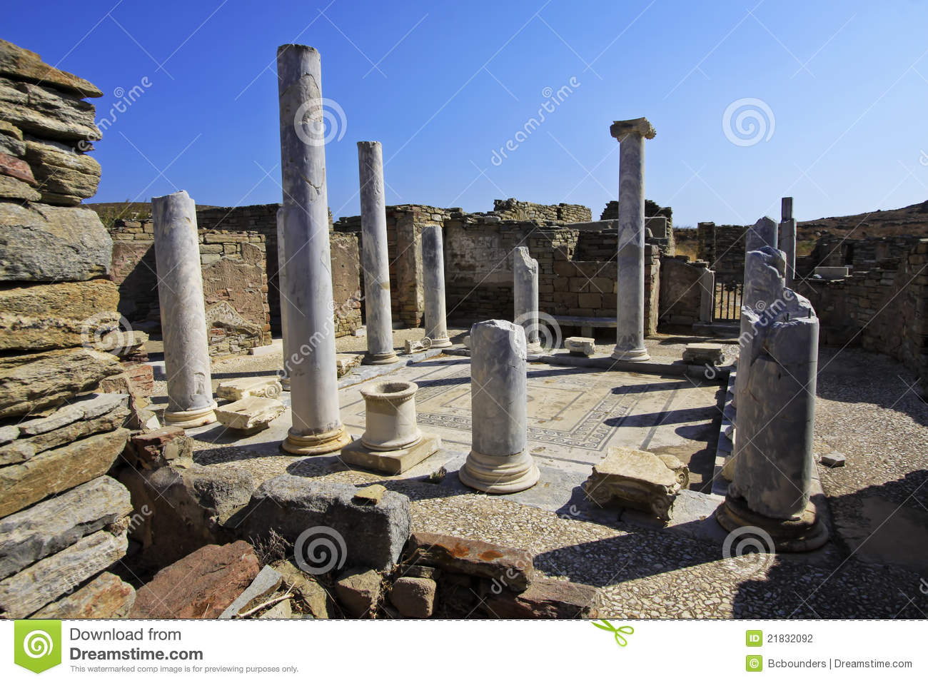 Ancient Delos Ruins, Greece Stock Photography - Image ...