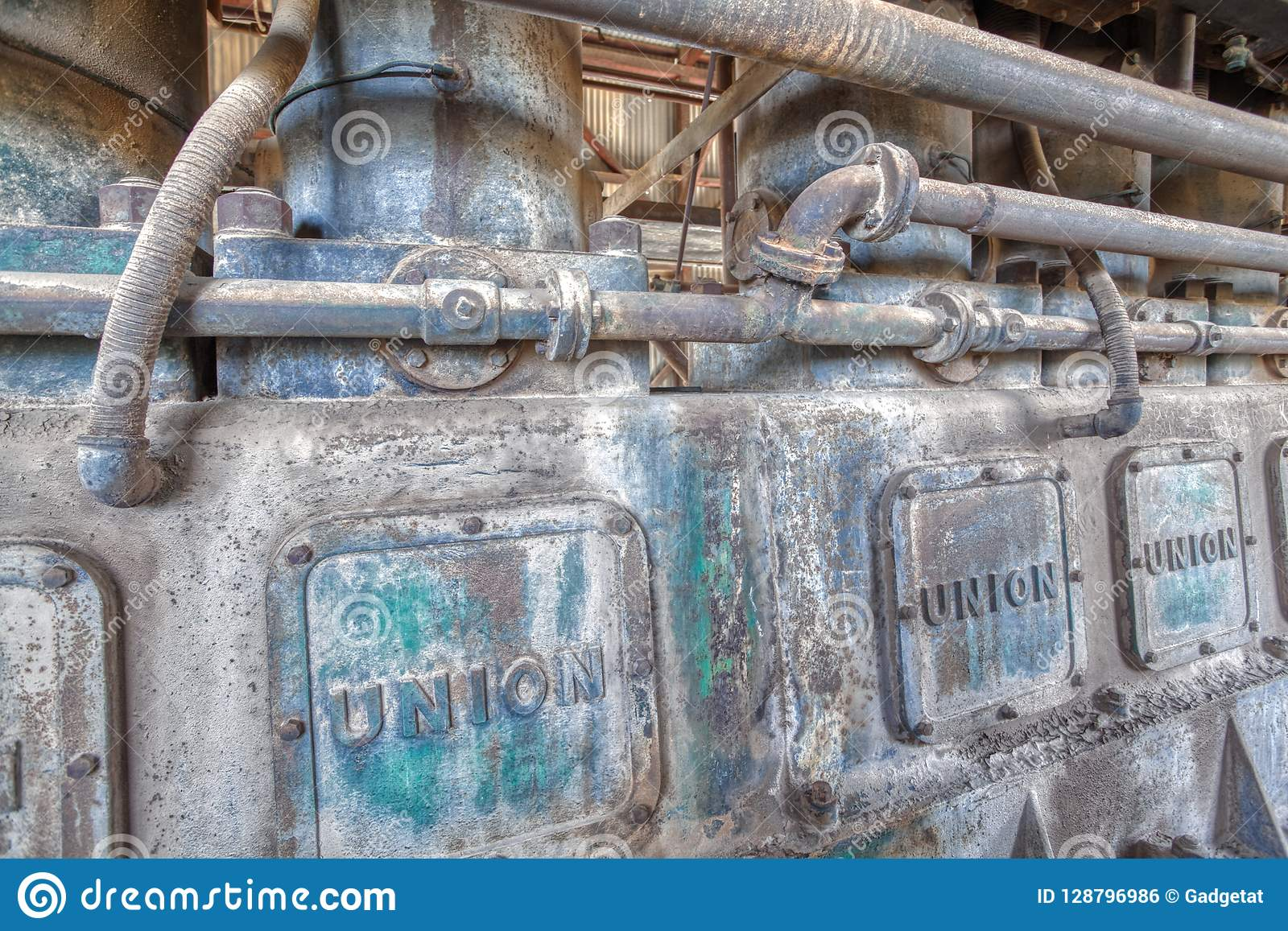 Ancient Diesel Generator At The Vulture Mine Ghost Town Stock Photo