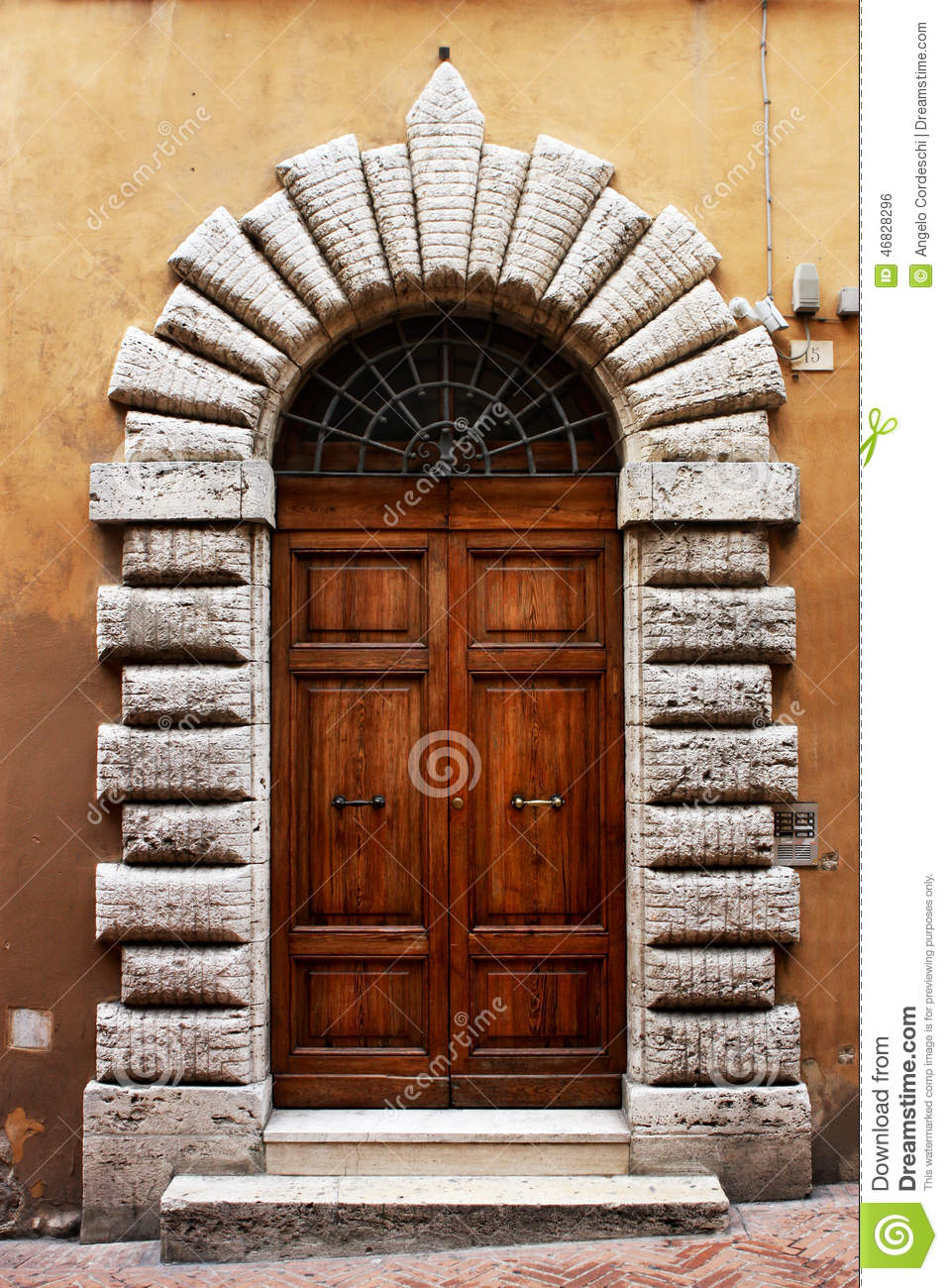 Ancient Wooden Door Of A Historic Building In Perugia Tuscany Italy Stock Photo