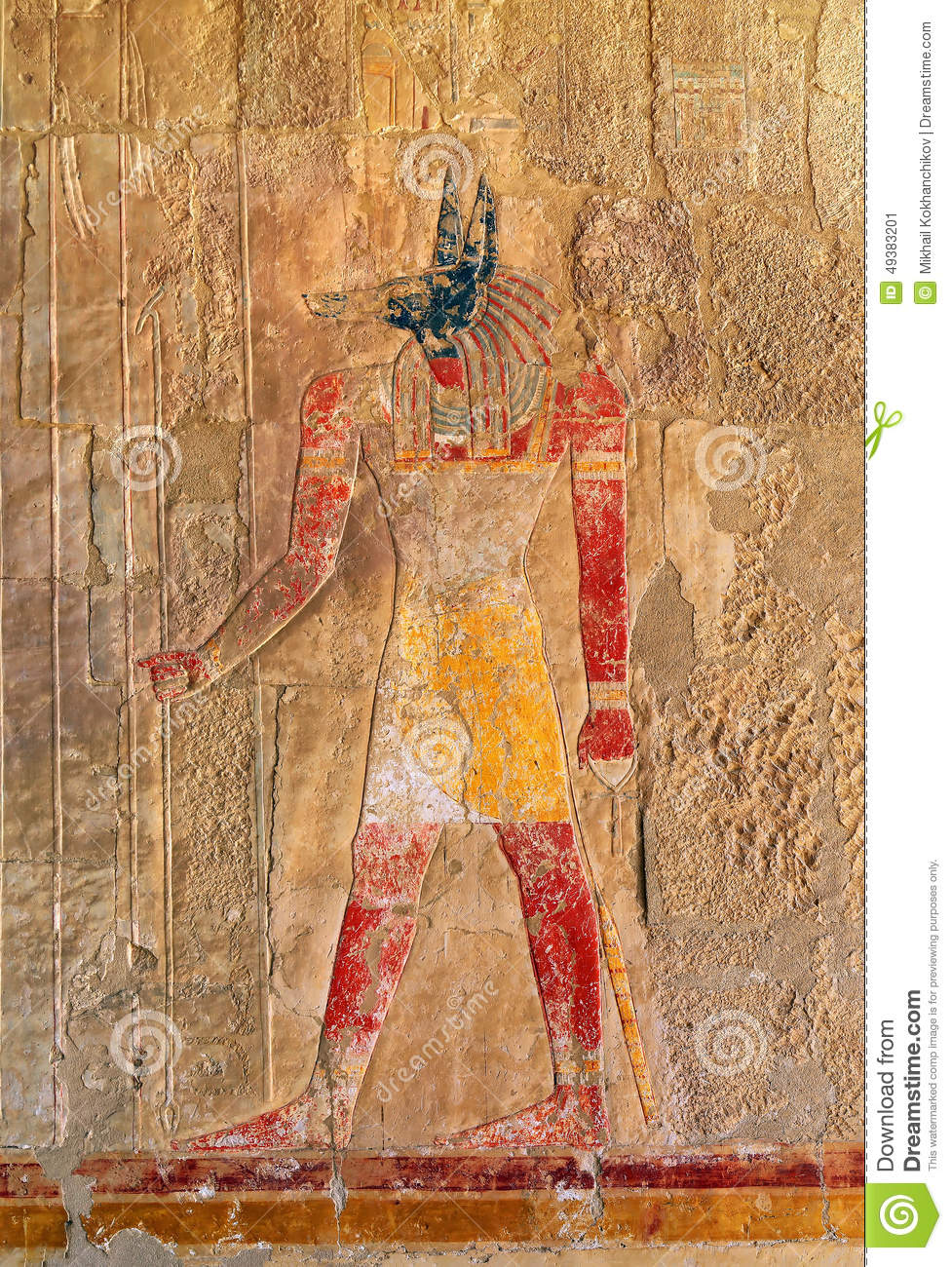 Ancient egypt color image of anubis