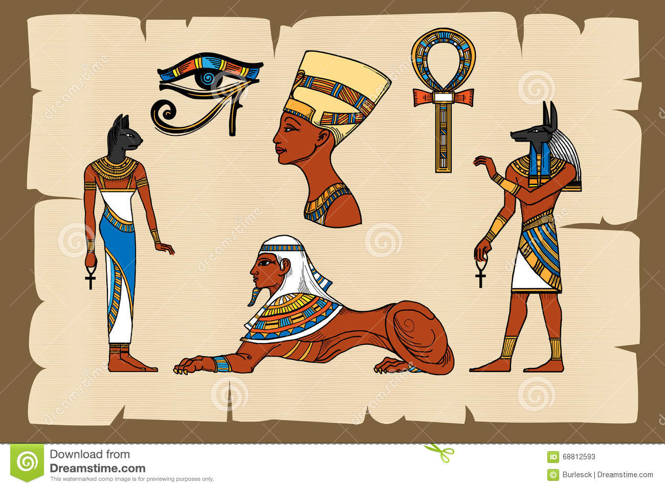 Ancient Egypt Symbols On Papyrus Stock Vector Illustration Of