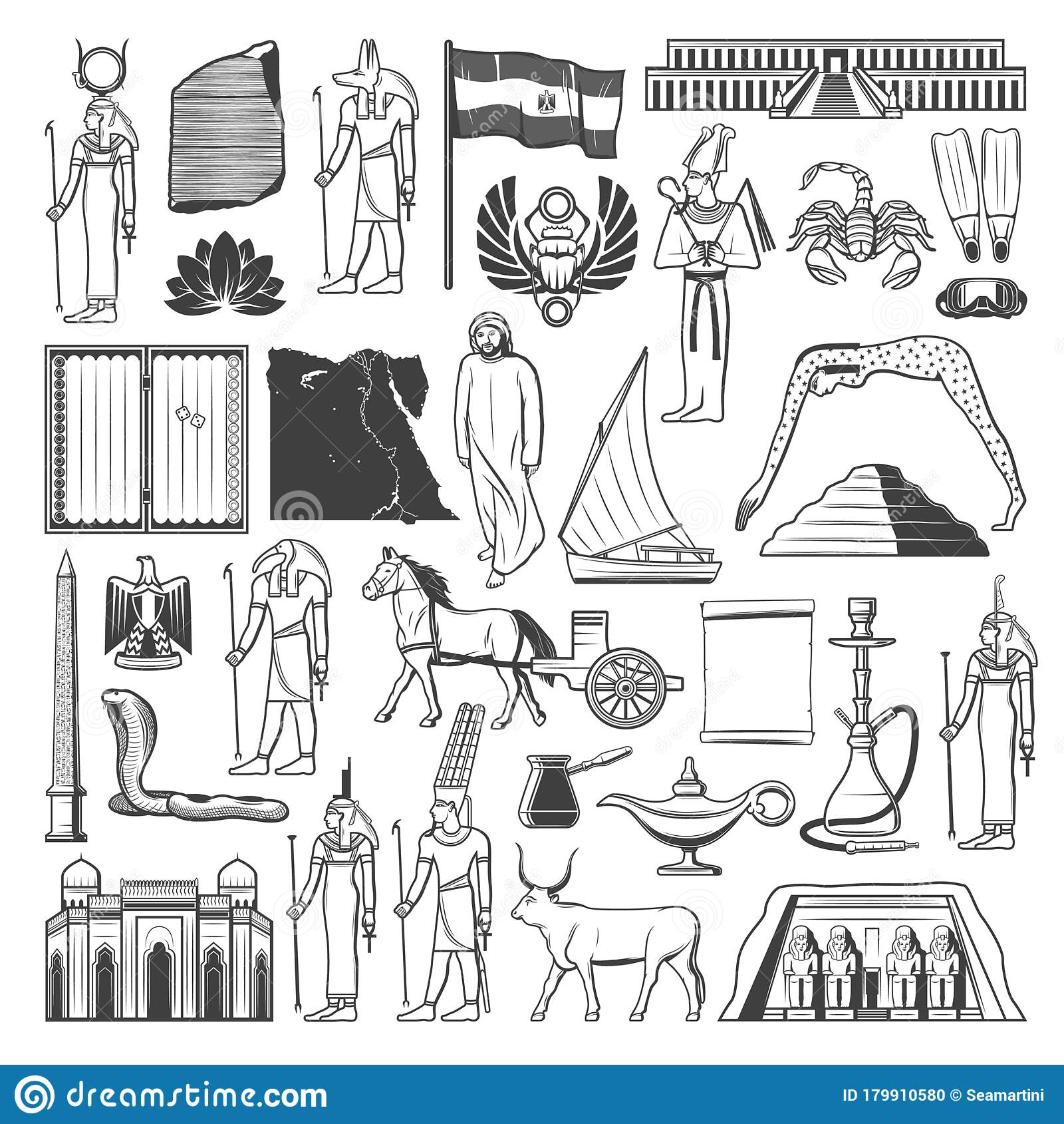 Ancient Egypt Travel Landmark, Map, Flag Sketches Stock ...