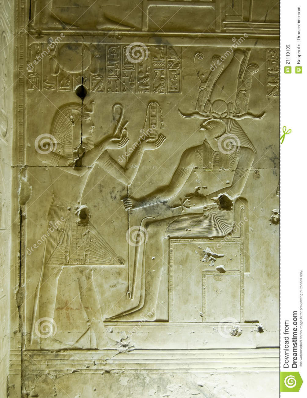 Ancient egyptian carving seti and horus stock image