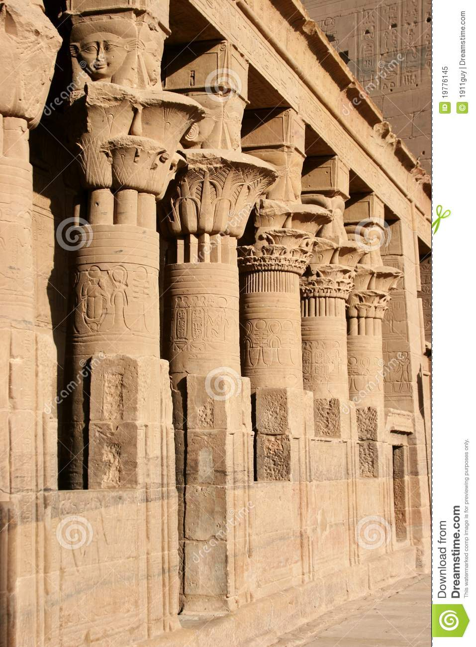 In The Inner Courtyard Of Isis Temple On Philae Island Aswan Egypt