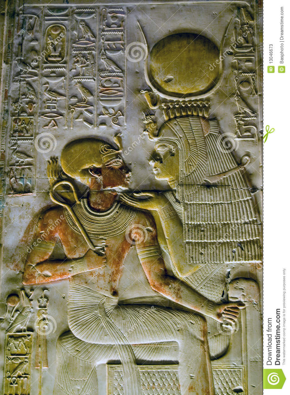 Ancient Egyptian goddess Isis with Pharoah Seti