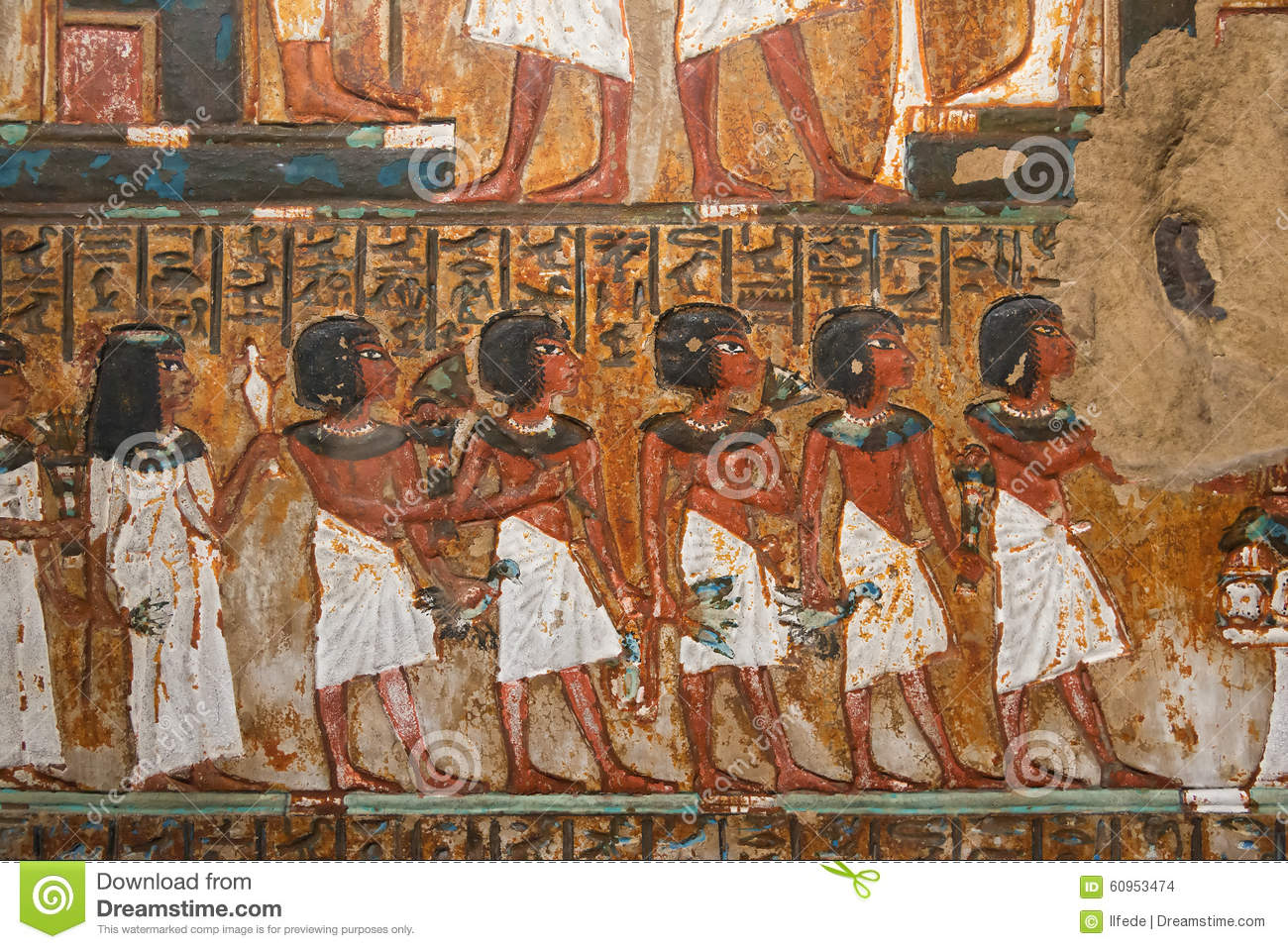 Ancient egyptian mural painting stock photo image 60953474 for Egypt mural painting