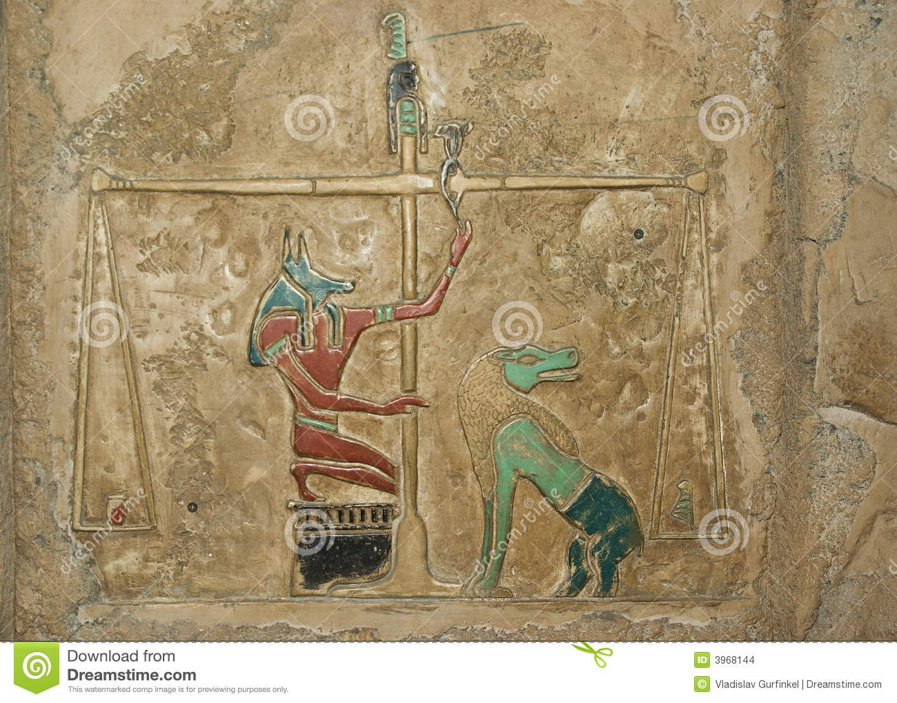 Ancient egyptian painted relief stock images image