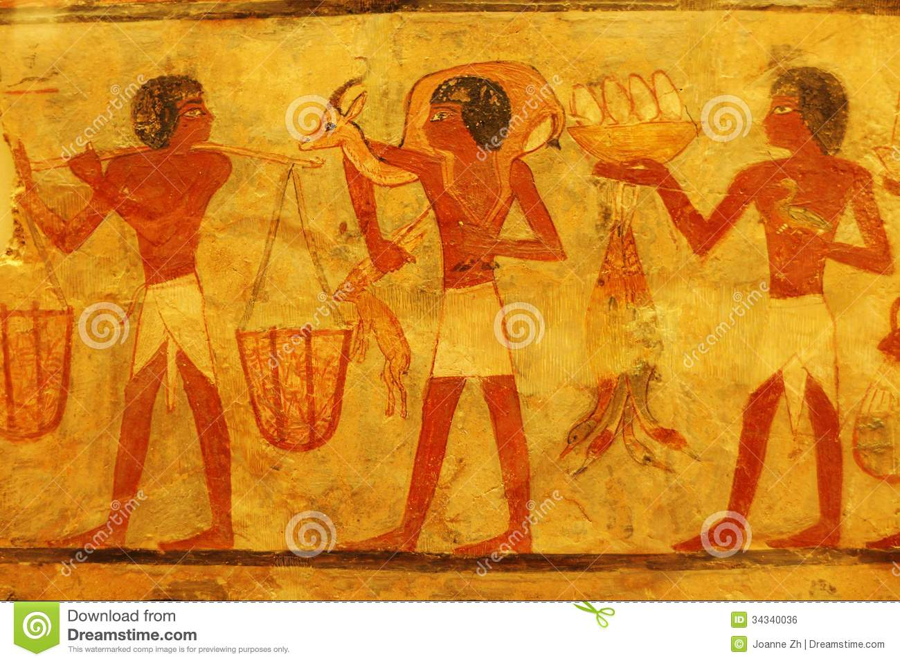 Ancient Egyptian Painting In Louvre Stock Photo - Image of draw ...