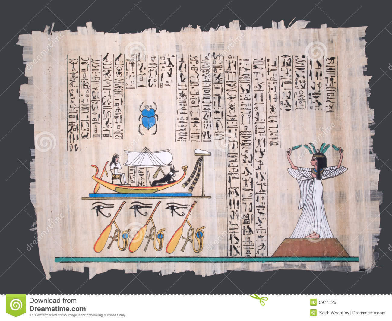 Ancient egyptian papyrus with boat and hieroglyphs