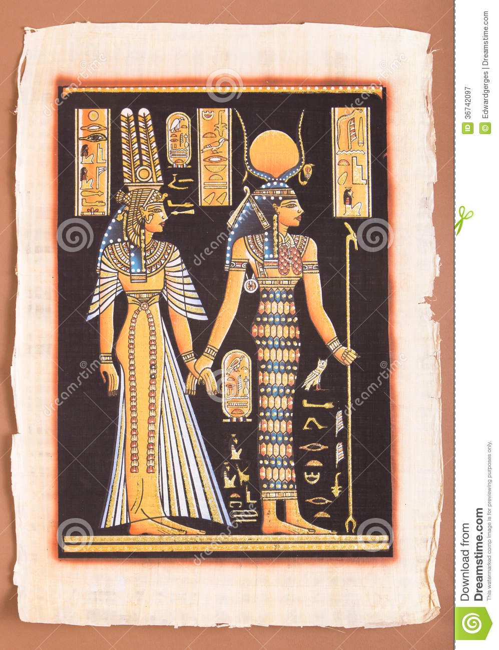 Ancient Egyptian Papyrus - Egyptian Queen Cleopatra Stock ...