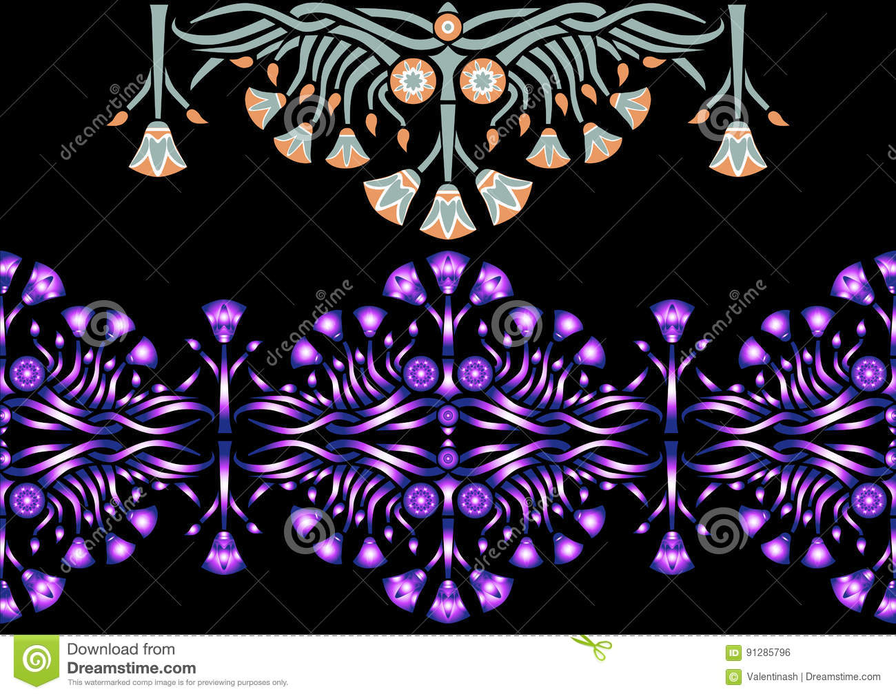 Ancient Egyptian Pattern With Lotus Stock Vector Illustration Of