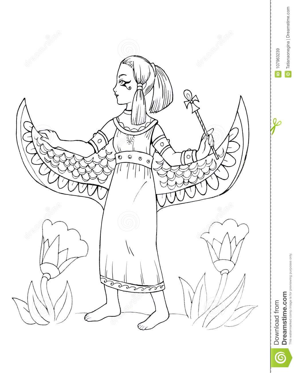Ancient Egyptian Princess Coloring Page Stock Illustration