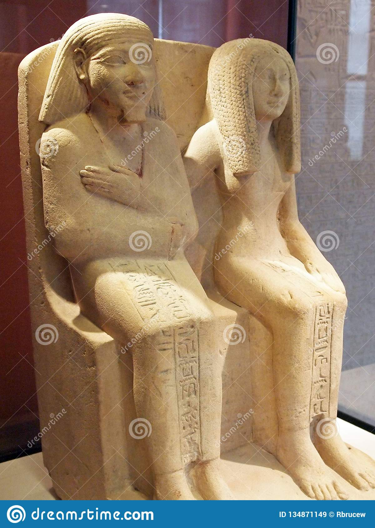 Ancient Egyptian Stone Statues, Seated Male and Female, Louvre Museum, Paris, France