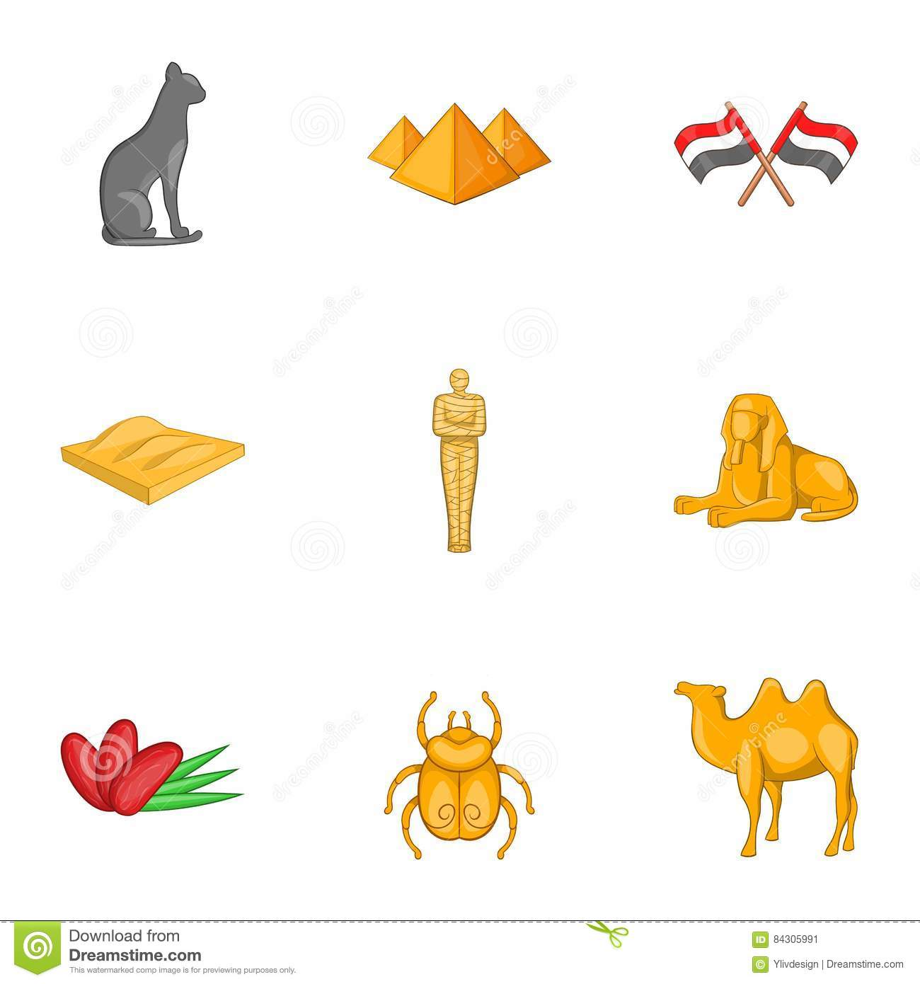 Ancient Egyptian Symbol Icons Set Cartoon Style Stock Vector