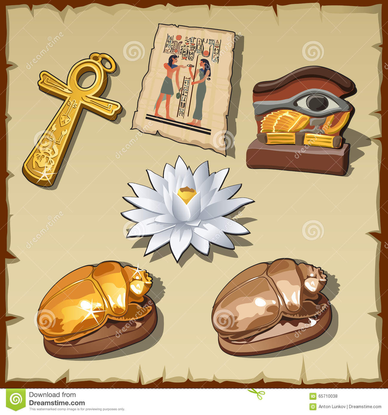 Ancient egyptian symbols and decorations stock vector for Ancient decoration