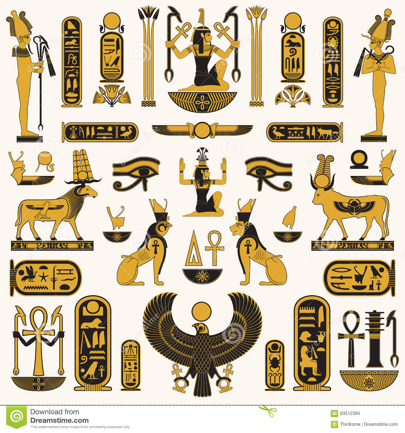 Ancient egyptian symbols stock vector illustration of decorative ancient egyptian symbols biocorpaavc