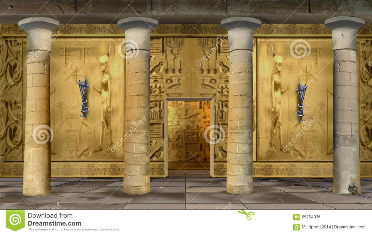 Ancient Egyptian Temple Indoor Stock Illustration - Image ...