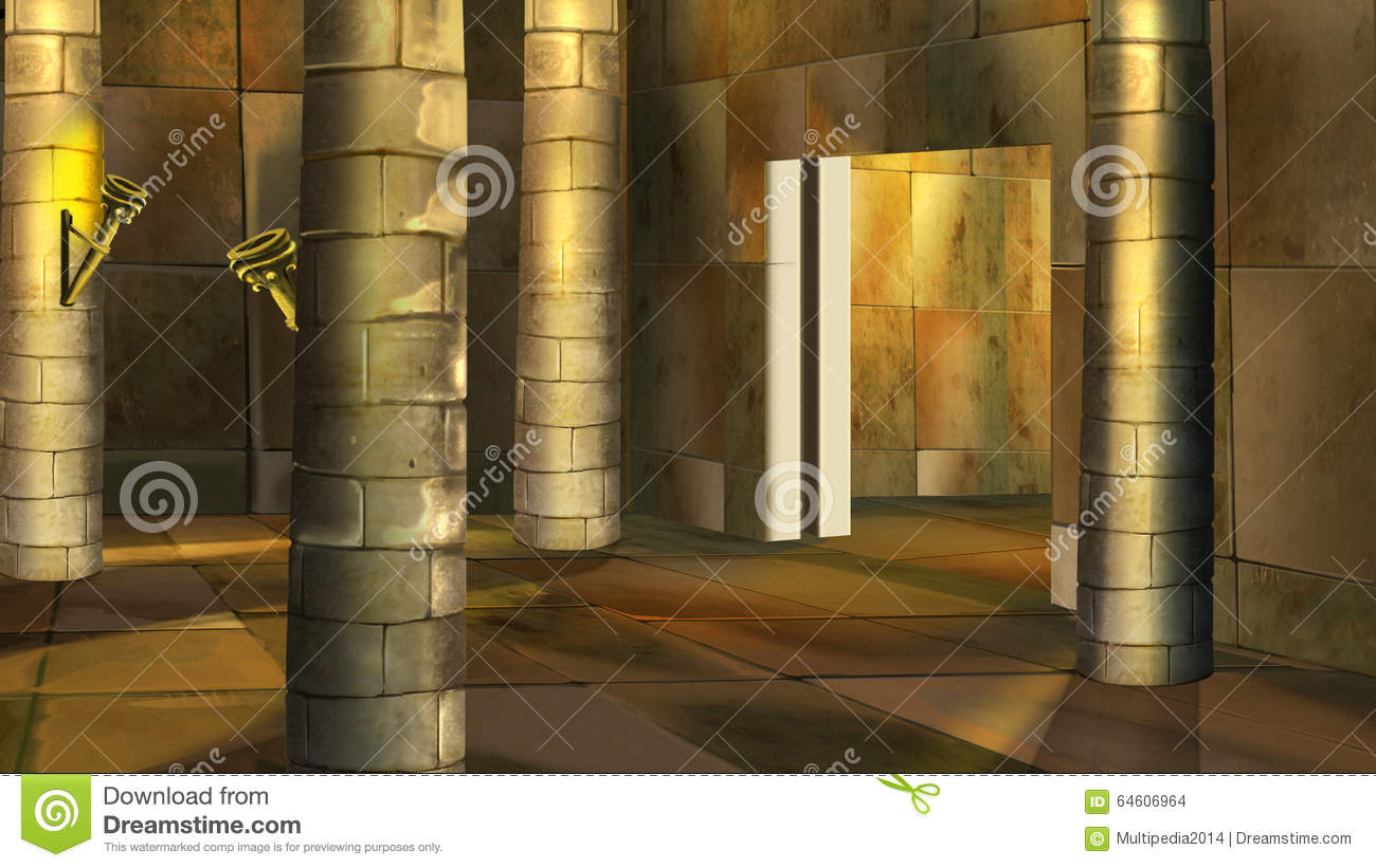 Ancient Egyptian Interior Architecture ancient egyptian temple interior. image 2 stock illustration
