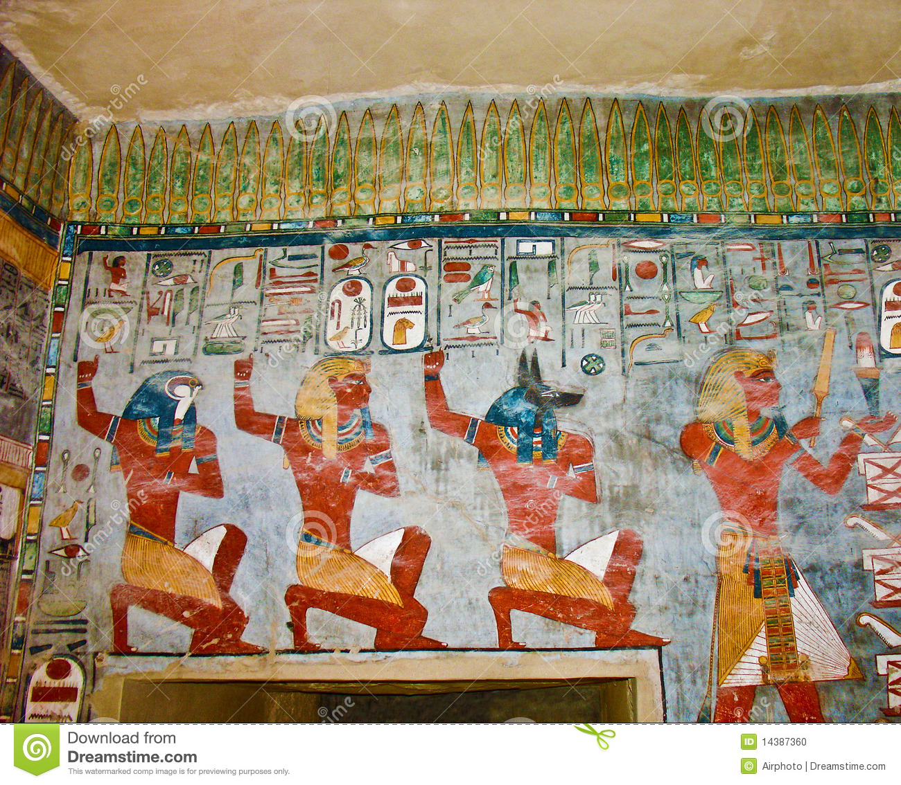 Ancient egyptian wall painting stock photo image of for Egyptian mural art