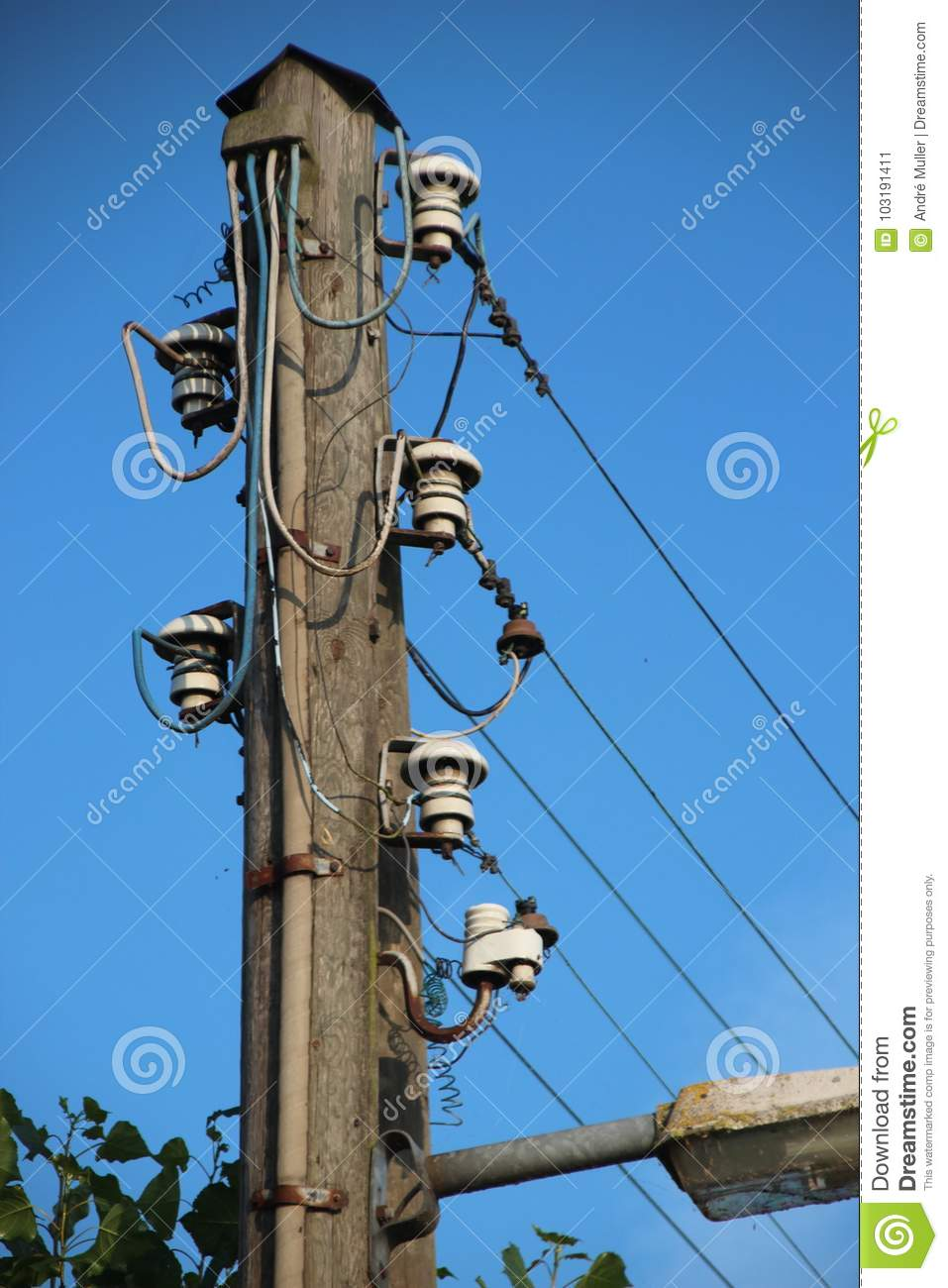 Electricity Wires | Ancient Electricity Wires On Wooden Pole In Moordrehct The