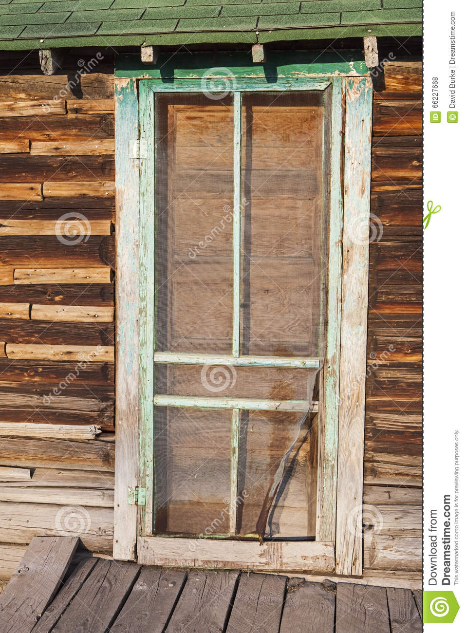 Ancient Exterior Screen Door Log Cabin Boards Retro Stock Photo