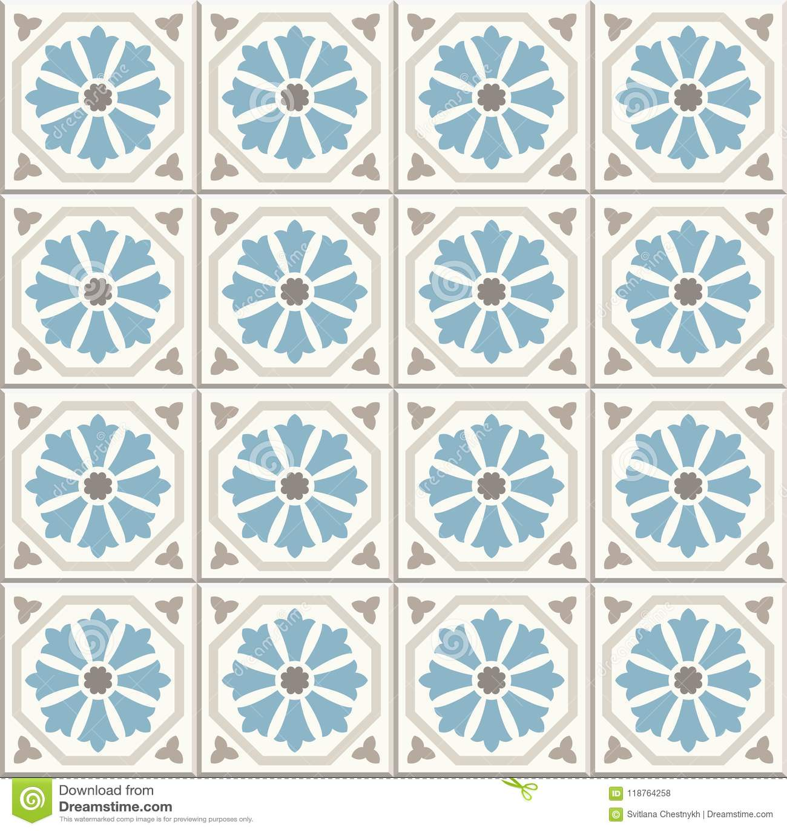 Ancient floor ceramic tiles. Victorian English floor tiling design, seamless vector pattern