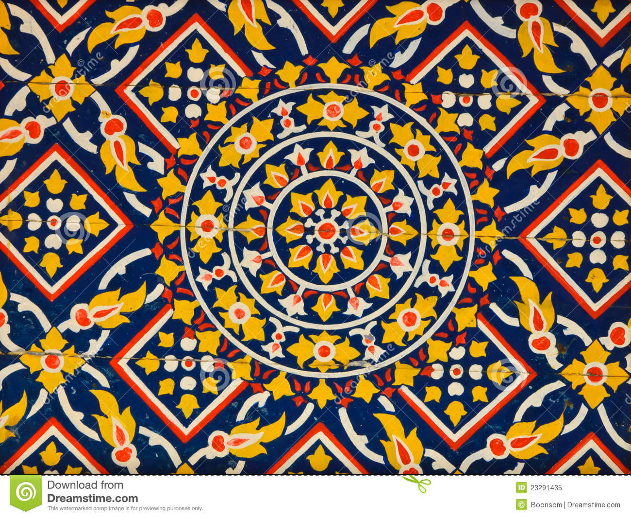 Ancient floral pattern painting on ceiling royalty free for Design patterns for pot painting