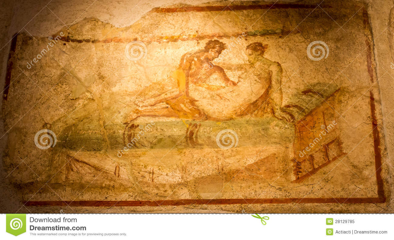 Ancient Fresco In Pompeii Royalty Free Stock Photo - Image 28129785-8845