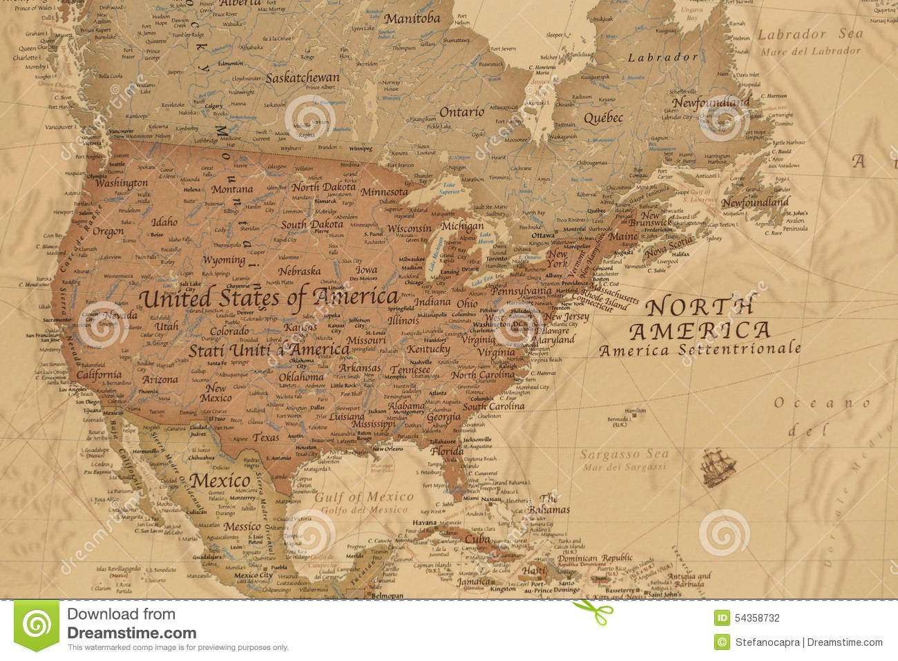 Ancient Geographic Map Of North America Stock Photo Image - North america physical map countries