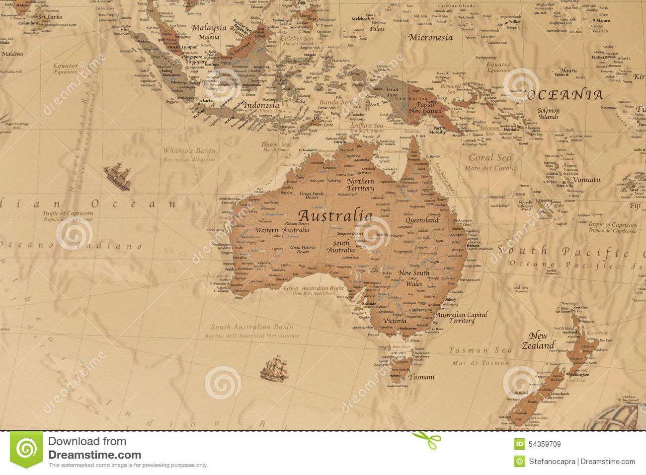Ancient Geographic Map Of Oceania Stock Image - Image of india ...