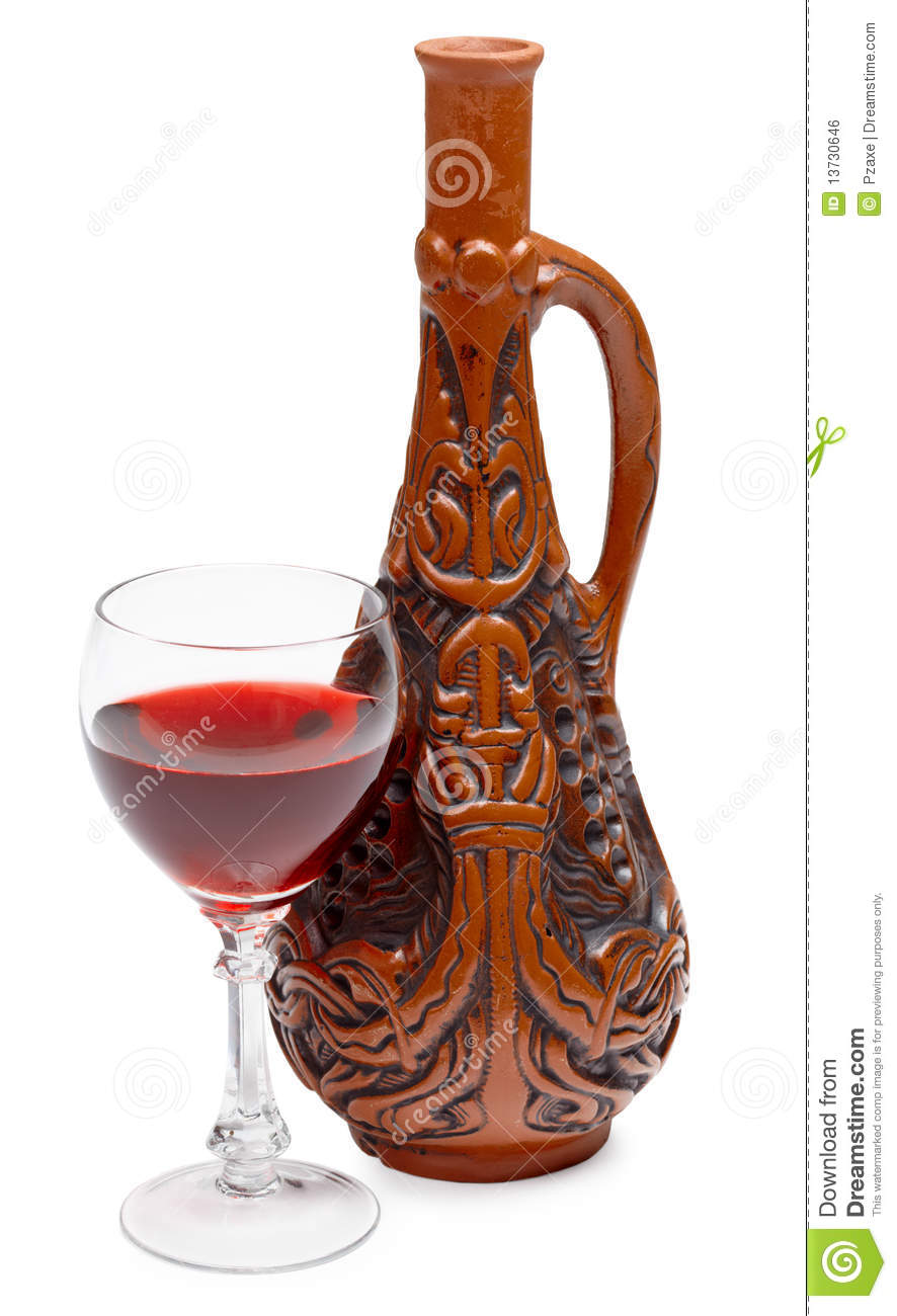 Ancient Georgian Bottle And Glass Of Wine On White Stock