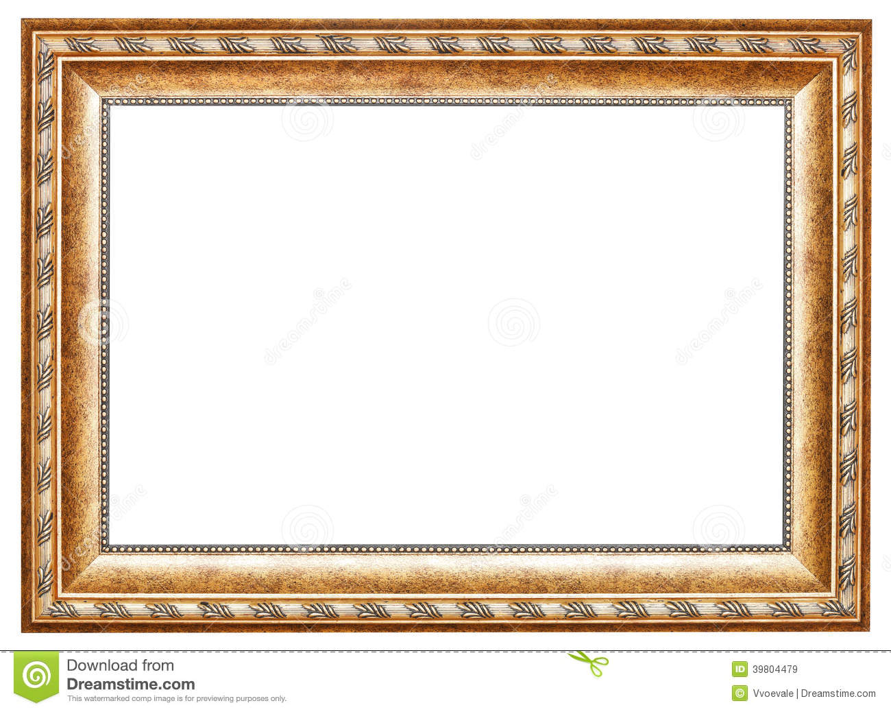 Ancient Gold Classic Wide Wooden Picture Frame Stock Image - Image ...