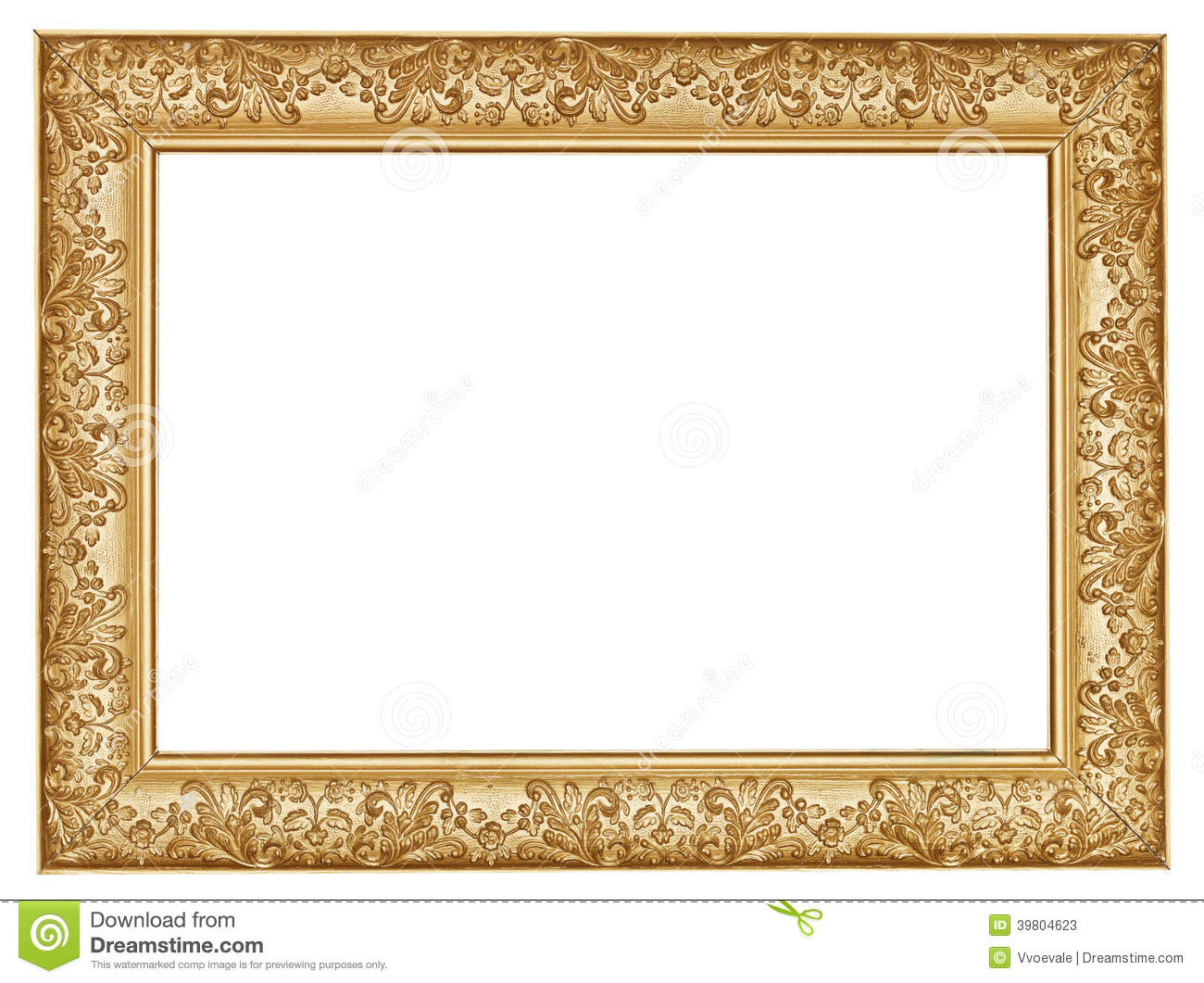 Ancient Golden Carved Wide Wooden Picture Frame Stock Image - Image ...