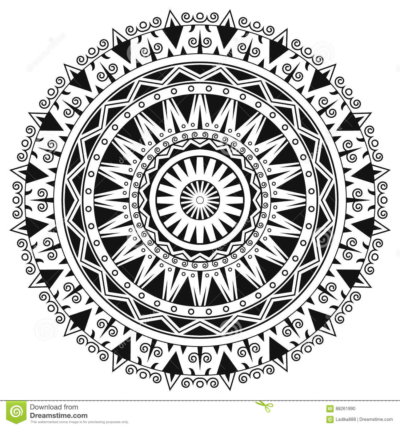 Ancient Gothic Ornament Mandala On White