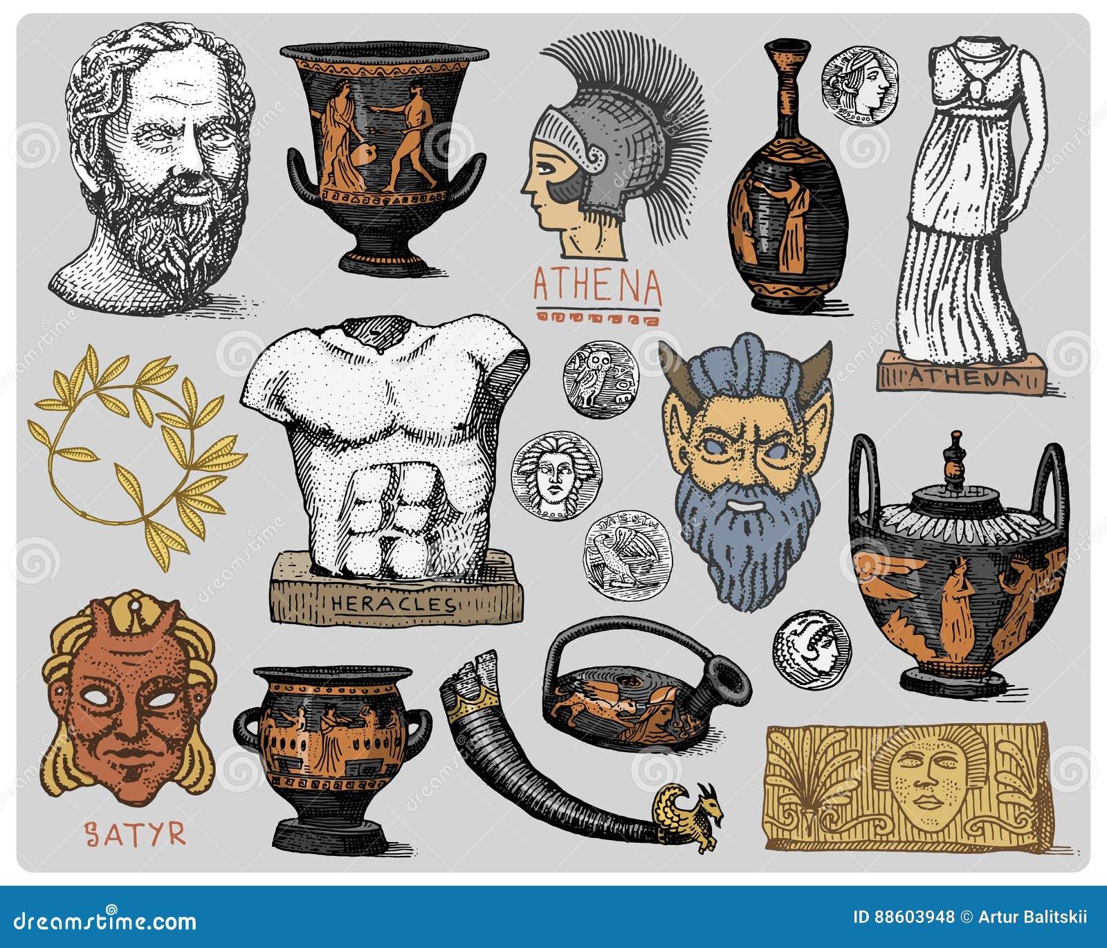 Ancient Roman Statue Vector Drawing Vector Illustration